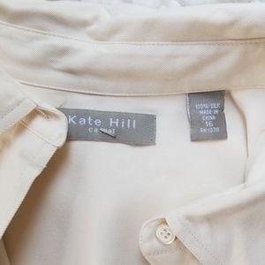 Kate Hill Tops - Kate Hill Silk Cream Button Down